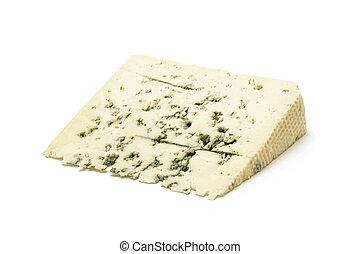 Gorgonzola cheese slice isolated closeup