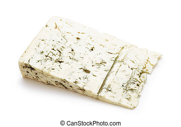 gorgonzola cheese slice isolated