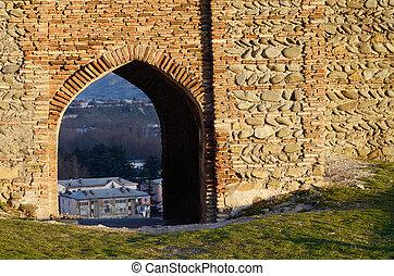 gori, antiga, fortaleza, portão