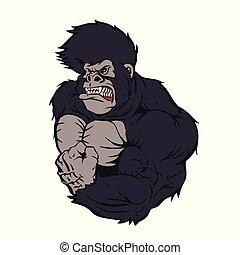 gorila, atleta, feroz, caricatura