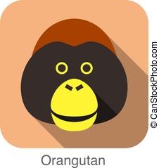 gorila, cara,  animal, plano, icono