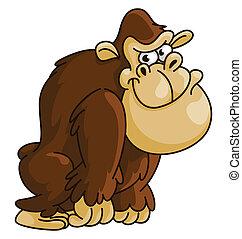gorila, caricatura, divertido