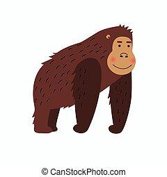 gorila, caricatura, feliz