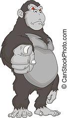 gorila, caricatura, ilustración