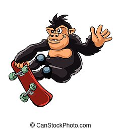 gorila, cartoon., patinador