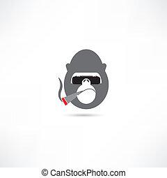 gorila, cigarro