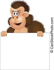 gorila, com, sinal branco