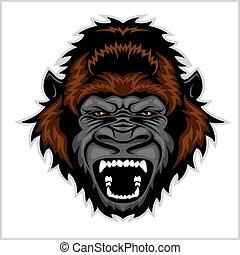 gorila, enojado, cabeza