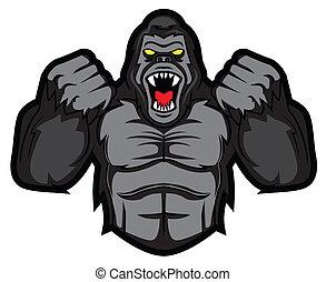 gorila, enojado