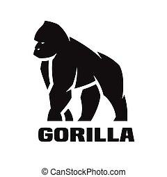 gorila, logo., monocromático