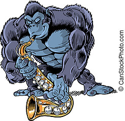 gorila, sa, caricatura, muscular, juego