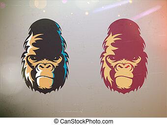 gorila, sonrisa afectada, cara, estilizado