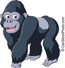 gorilla, back, zilver, spotprent