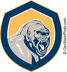 gorilla, boos, hoofd, retro, schild