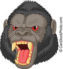 gorilla, boos, hoofd, spotprent, characte