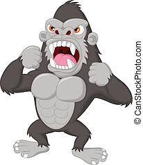 gorilla, boos, karakter, spotprent