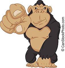 gorilla, boos, spotprent
