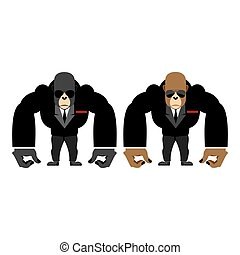 Gorilla bouncer. Big strong animal guard. Monkey in black suit bodyguard