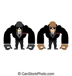 Gorilla bouncer. Big strong animal guard. Monkey in black suit bodyguard