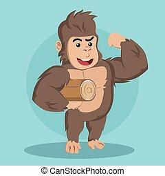 gorilla carrying log