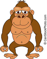 gorilla, cartone animato, carino