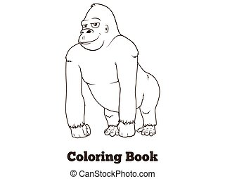 Gorilla cartoon coloring book vector illustration