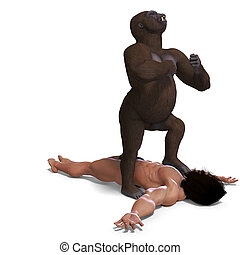 gorilla defeated the apeman. 3D rendering with clipping path...