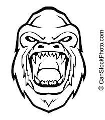 gorilla, faccia