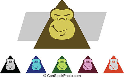 Gorilla Faces - Set of various colored Gorilla Mascot...