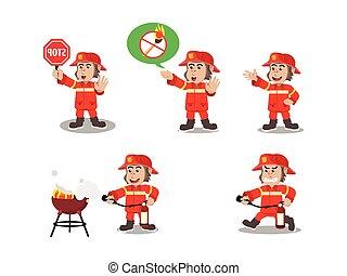 gorilla fire fighter cartoon set