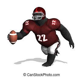 Gorilla Football Player - A gorilla wearing a football...