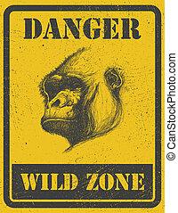 gorilla., gefahr, zeichen., eps, warnung, 8, signal