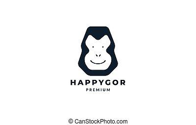 gorilla head happy logo vector illustration design