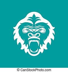 Gorilla head logo for sport club or team. Animal mascot logotype. Template. Vector illustration.