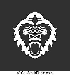 Gorilla head logo for sport club or team. Animal mascot logotype. Template. Vector illustration.