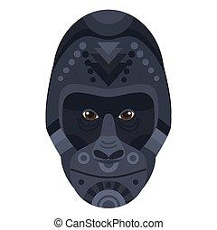 Gorilla Head Logo. Vector decorative Emblem.
