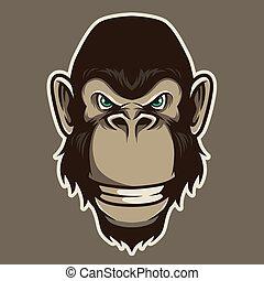 Gorilla Head Mascot Illustration Vector in Cartoon Style