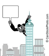 Gorilla holding blank worksheet, nameplate. Wild strong Monkey on public building. Big scary Animal in city.