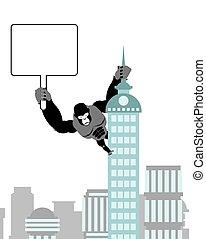 Gorilla holding blank worksheet, nameplate. Wild strong...