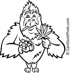 Gorilla Holding Blueberry and Cannabis Leaf Cartoon Mascot Black and White
