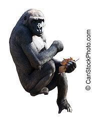 gorilla., isolato, sopra, bianco