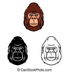 gorilla, libro, coloritura, carattere