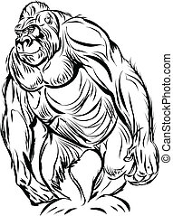 Gorilla line art ready for your design work or coloring