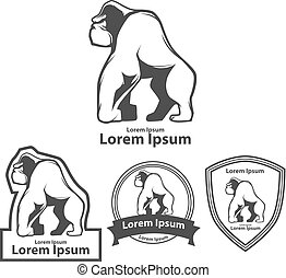 gorilla logo profile - silhouette gorilla, profile view, for...