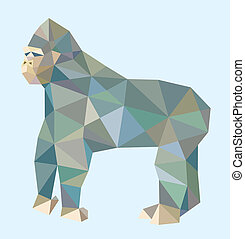 Gorilla low poly style - Gorilla triangle low polygon style....