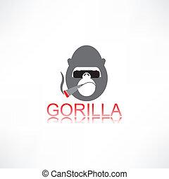 gorilla, mit, zigarre