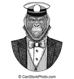 Gorilla, monkey, ape Animal wearing jacket with bow-tie and...