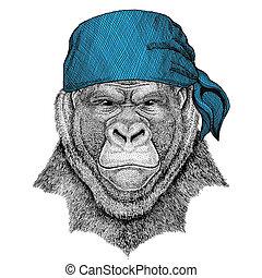 Gorilla, monkey, ape Frightful animal Wild animal wearing...