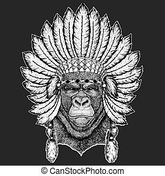 Gorilla, monkey, ape Frightful animal Traditional ethnic...