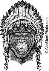 Gorilla, monkey Wild animal wearing inidan headdress with...